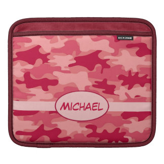 Red Camo Camouflage Name Personalized Sleeve For iPads
