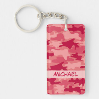Red Camo Camouflage Name Personalized Double-Sided Rectangular Acrylic Keychain