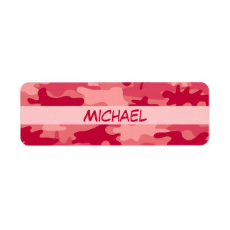 Red Camo Camouflage Name Personalized Custom Return Address Label