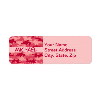 Red Camo Camouflage Name Personalized Return Address Labels