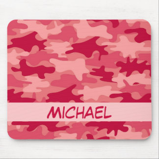 Red Camo Camouflage Name Personalized Mouse Pad