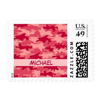Red Camo Camouflage Name Personalized Postage