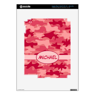 Red Camo Camouflage Name Personalized Decal For iPad 3