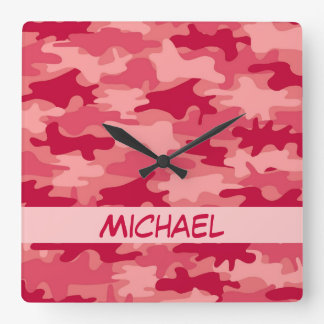 Red Camo Camouflage Name Personalized Square Wall Clock