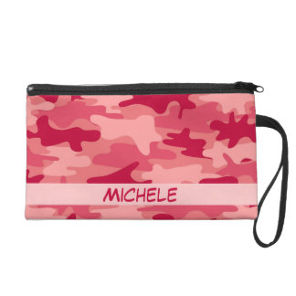 Red Camo Camouflage Name Personalized Wristlet Purse