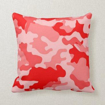 Red Camo Throw Pillow