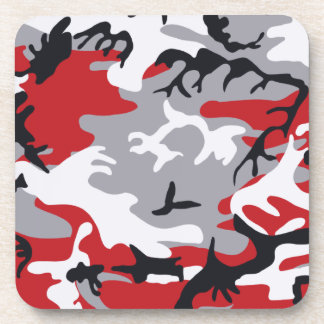 Red Camouflage Cork Coaster