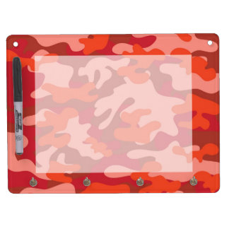 Red Camouflage Dry Erase Board With Keychain Holder
