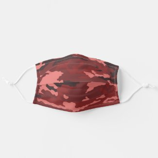 Red camouflage pattern cloth face mask