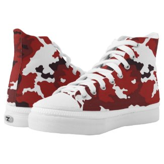 Red camouflage pattern High-Top sneakers