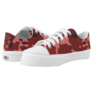 Red camouflage pattern Low-Top sneakers