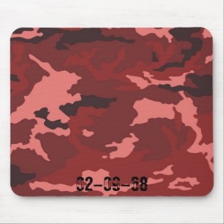 Red camouflage pattern mouse pad