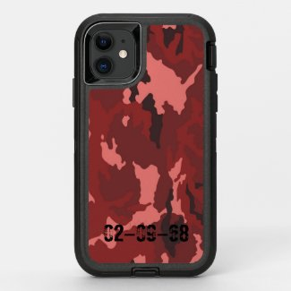 Red camouflage pattern OtterBox defender iPhone 11 case