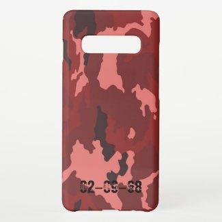 Red camouflage pattern samsung galaxy s10+ case