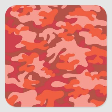 Red Camouflage Square Sticker