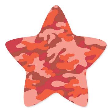 Red Camouflage Star Sticker