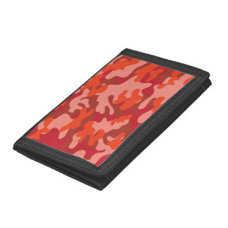Red Camouflage Tri-fold Wallet