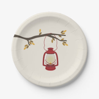 Red Camping Lantern Autumn Tree Branch Paper Plate