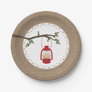 Red C&ing Lantern - Burlap Inspired Paper Plate  sc 1 st  Zazzle & Burlap And Lace Wedding Plates   Zazzle