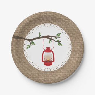 Red Camping Lantern - Burlap Inspired 7 Inch Paper Plate