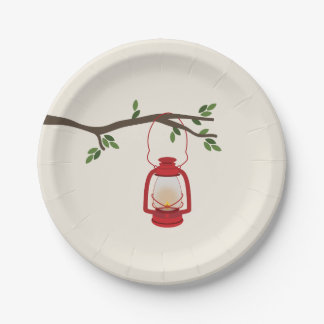 Red Camping Lantern Tree Branch Paper Plate