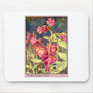 Red Campion Fairy Mouse Pad