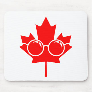 Red Canad maple plus glasses Mouse Pad