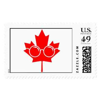 Red Canad maple plus glasses Postage Stamps