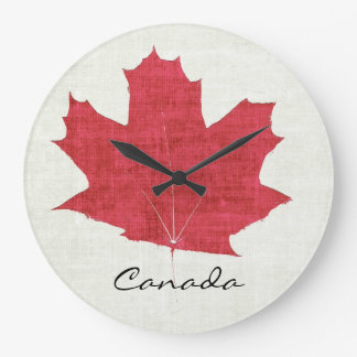 red Canadian maple leaf clock