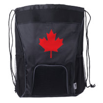 Red Canadian Maple Leaf from Canadian Flag Drawstring Backpack