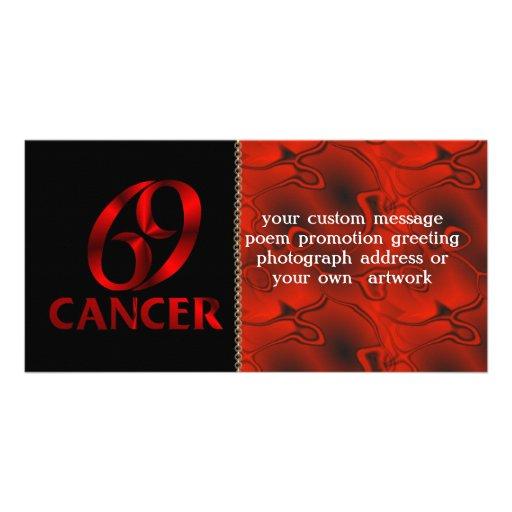 Red Cancer Horoscope Symbol Card