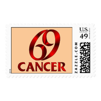 Red Cancer Horoscope Symbol Stamps