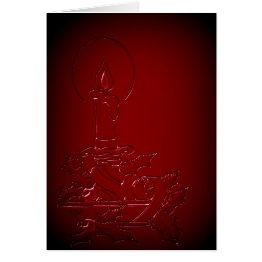 Red Candle Faux Embossed Christmas Greeting Card