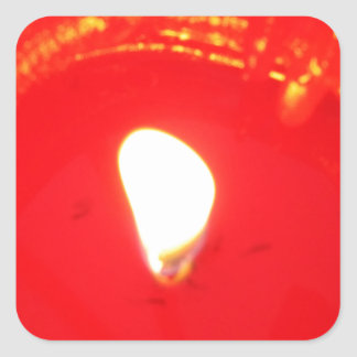 Red Candlelight, Flame , Candle, Christmas Love Square Sticker