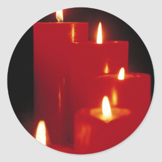 Red Candles Classic Round Sticker