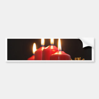Red candles of an Advent wreath with fir branches Bumper Sticker