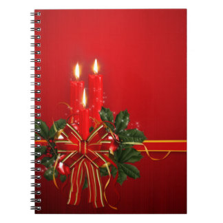 Red Candles Ribbon and Holly Spiral Notebook