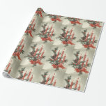 Red candles vintage Christmas custom Wrapping Paper