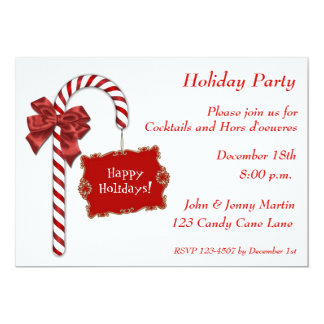 Red Candy Cane Invitation