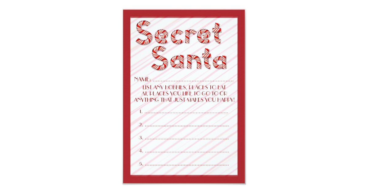 Red Candy Cane Secret Santa Customizable Ballots Card