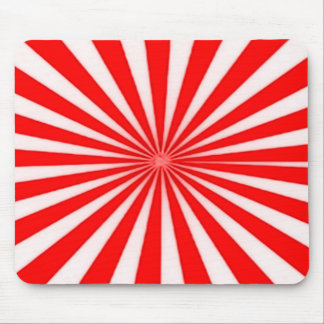 Red Candy Cane Star Burst Stripes Pattern Mouse Pad
