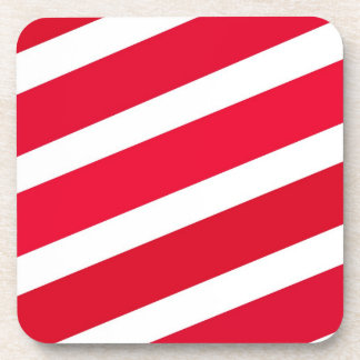 Red Candy Cane Stripes Drink Coaster