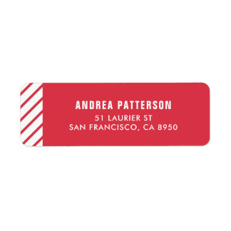 Red Candy Cane Stripes Pattern Holiday Label