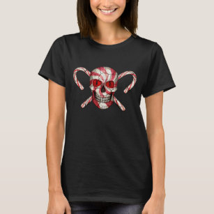 24b91d2b2 Red Candy Cane Sugar Skull Zombie T-shirt