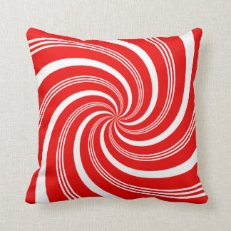 Red Candy Cane Twirl Pillow