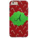Red candy canes green glitter monogram tough iPhone 6 plus case
