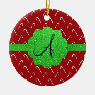 Red candy canes green glitter monogram ornament