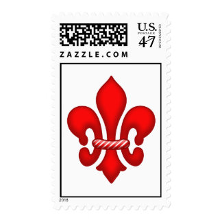 Red Candy Fleur de lis Postage Stamps
