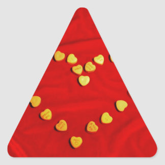 Red Candy Hearts Heart Triangle Sticker