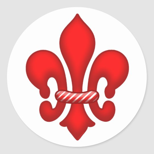 Red Candy Holiday Fleur de lis Stickers